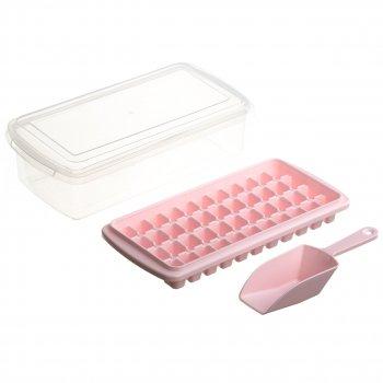 Форма для льоду з контейнером і лопаткою STENSON 27 х 10 см (82590) Рожевий