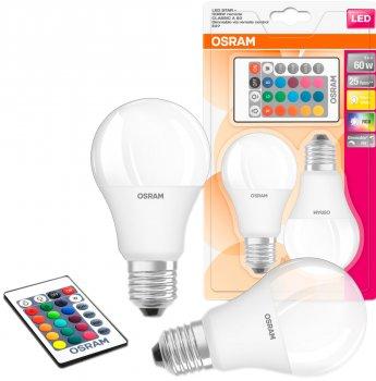 Світлодіодна лампа Osram LED STAR+ A60 DIM 9W (806Lm) 2700К+RGB E27 пульт ДУ*2 (4058075430891)