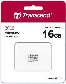 Transcend MicroSDHC 300S 16GB Class 10 UHS-I U1 no adapter (TS16GUSD300S)