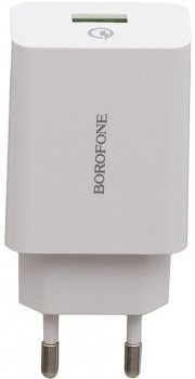 Сетевое зарядное устройство Borofone BA21A Qualcomm 3.0 18W White (QT-BorofoneA21Awh)