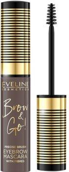 Туш для брів Eveline Brow & Go! 01 Medium Brown з мікрофіброю 6 мл (5901761997606)