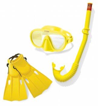 Набор для плавания ласты маска и трубка размер M Intex 55655 (tsi_102278)