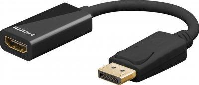 Перехідник моніторний Goobay DisplayPort-HDMI M/F (HDMIекран) v1.2 4K@30Hz 0.1m D=4.8mm чорний(75.06.7881)