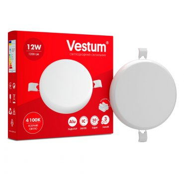 Світильник LED врізний без рамки круглий Vestum 12W 4100K 220V (1-VS-5503)