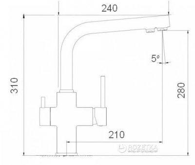 Кухонний змішувач з підключенням до фільтра Globus Lux GLLR-0444 ONIX