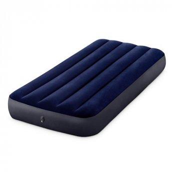 Надувной матрас велюровый Intex 64757 (99х191х25 см) полуторный синий