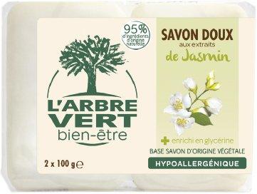 Тверде мило L'Arbre Vert з натуральним екстрактом жасмину 100 г х 2 шт (3450601026591)