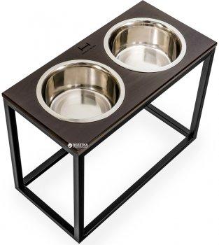 Підставка на дві миски для великих собак Harley and Cho Dinner XL 1.8 л 20 см Коричнева з чорним (3300041)