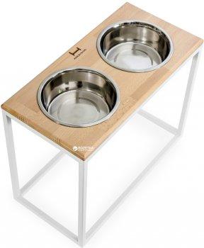 Підставка на дві миски для великих собак Harley and Cho Dinner XL 1.8 л 40 см Натуральна з білим (3300028)