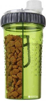 Подвійна пляшка для води і корму для собак Dexas Snack-DuO16oz 480 мл Зелена (dx30811)