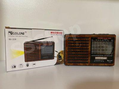 Акумуляторний радіоприймач FM радіо Golon RX-328 Brown з ліхтариком (приймає флешки)