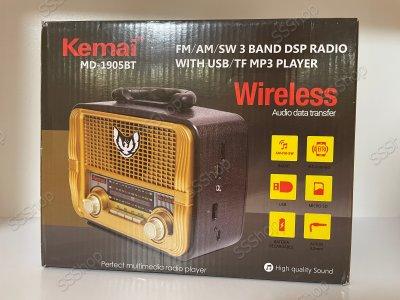 Акумуляторний радіоприймач колонка Kemai Retro (MD-1905BT) з Bluetooth і USB Gold