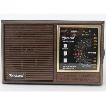 Акустична система Golon акумуляторний FM радіо приймач в ретро стилі з USB виходом під флешку Коричневий (RX-9933)