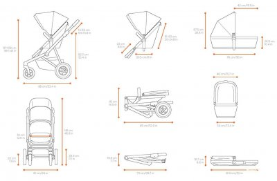Універсальна коляска Thule 2 в 1 Sleek з люлькою Grey Melange (TH 11000006)