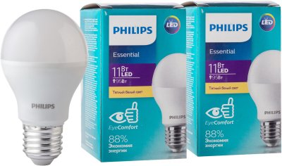 Светодиодная лампа Philips ESS LEDBulb 11W E27 3000K A60 2 шт (929001900287S)