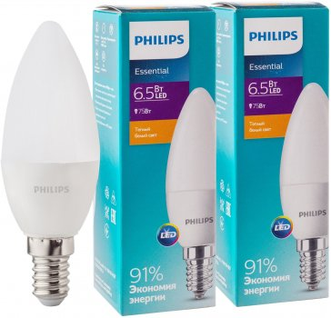 Світлодіодна лампа Philips ESS LEDCandle 6.5-75 W E14 827 B35NDFR 2 шт. (929001886507S)
