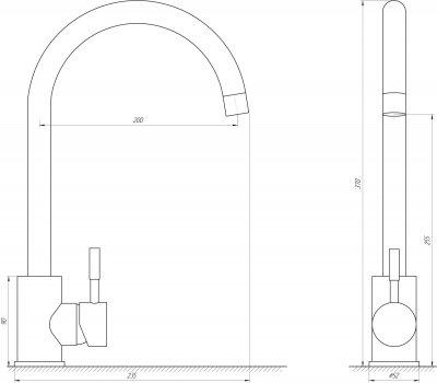 Змішувач кухонний GLOBUS LUX SUS-203S неіржавка сталь