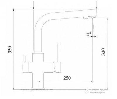 Кухонний змішувач з під'єднанням до фільтра GLOBUS LUX SUS-0888-1 неіржавка сталь