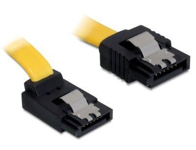 Кабель накопичувача Delock SATA 7p M/M 0.1m 90°вверх 6Gbps AWG26 Latch жовтий(70.08.2807)