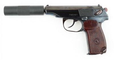 Пневматичний пістолет МР 654 з імітатором глушника (глибока полірування)