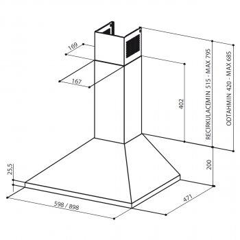 Купольная кухонная вытяжка в стену Faber VALUE PB 4 2L BK A90 Classic PRO (1-BK A90)