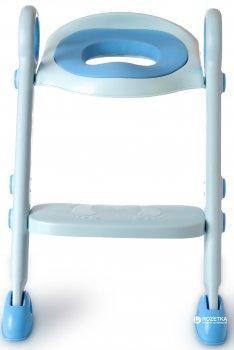 Детское сидение на унитаз с лесенкой Babyhood с полиуретановым кольцом Синее (BH-122B)