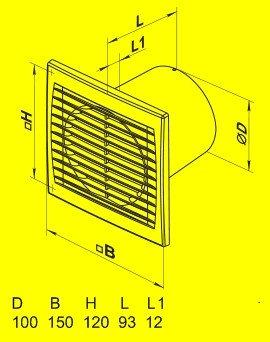 Вытяжной вентилятор Домовент 100 С1Т (таймер)