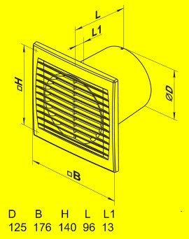 Вытяжной вентилятор Домовент 125 С1Т (таймер)