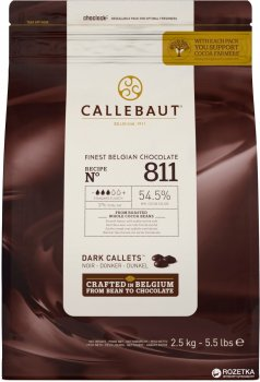 Шоколад Callebaut №811 бельгійський чорний у формі калет 2.5 кг (5410522513257)