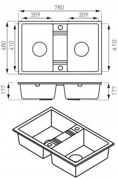 Кухонна мийка FERRO MEZZO II DRGM2/48/78BA двокамерна