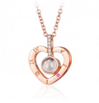 Кулон сердце на цепочке с проекцией «Я Тебя Люблю» на 100 языках мира CH210210