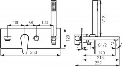 Змішувач для ванни FERRO Algeo BAG11P