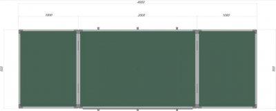 Доска Сектор магнитно-маркерная меловая 400х100 см (КМ4010)