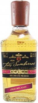 Текила Tres Sombreros 100% Agave Anejo 38% 0.7 л (8438001406149)