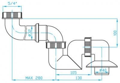"""Сифон для раковины PLAST BRNO трубный 5/4"""" 40 мм с боковым смещением низкий (ESB0543)"""