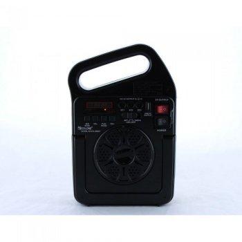 Радіо-колонка Bluetooth портативна з сонячною батареєю з функцією портативної зарядкий і ліхтариком Чорний Golon (RX-498BT)