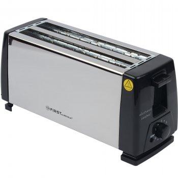 Тостер напівавтоматичний на два відділення 7 ступенів обжарювання 4 грінки 1300 Вт Чорно-сріблястий First (FA-5367-CH)
