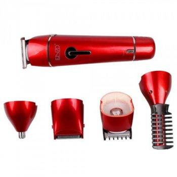 Акумуляторна машинка для стрижки волосся, тріммер і бритва 10 в 1 Enzo EN-5028 Red 3 Вт, індикатор заряду, стрижка вологих волосся, 10 насадок + підставка (EN-5028 DK)