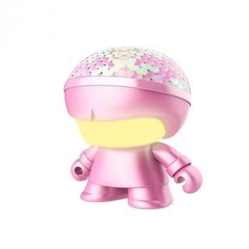 """Акуст. сист. XOOPAR серии """"Металлик""""Mini XBOY(7,5 cm,роз,с пайет,Bluetooth,заряд.USB-каб, LED-подс)"""