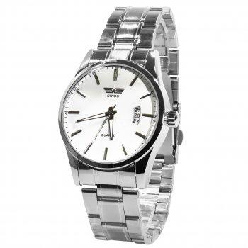 Влагозащищенные часы SWIDU SWI-021 Silver + White стальной корпус мужские наручные кварцевые