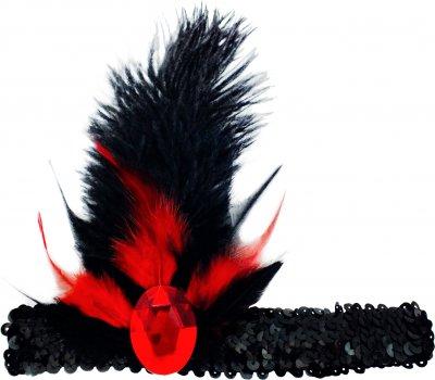 Резинка на голову Seta Decor 11-356BLK-BLK-RD c пером и камнем Черно-красная (2000037721013)