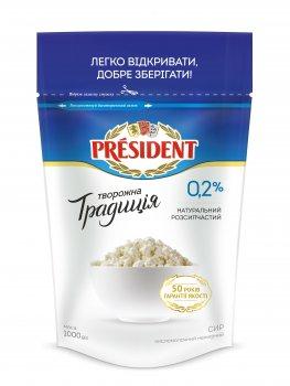 Сир кисломолочний ПРЕЗИДЕНТ 0,2% Творожна Традиція 1кг