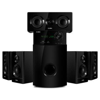 Комплект акустики для домашнього кінотеатру ( колонки ) SVEN HT-210 (black) 5+1: 50Вт+5*15Вт, BT, FM, SD, VFD дисплей, ДУ (17532)