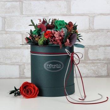 """Букет из стабилизированных живых цветов Floretta """"Успех"""", неувядающий более 3 лет, размер S"""