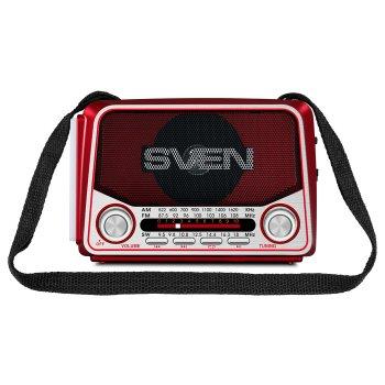 Портативний радіоприймач SVEN SRP-525 (red) 3Вт, Li-Ion акумулятор, USB, microSD,FM (23593)