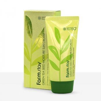 Солнцезащитный крем увлажняющий FarmStay Green Tea Seed Moisture Sun Cream SPF50PA с экстрактом зеленого чая 70 мл
