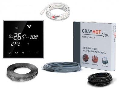 Тепла підлога нагрівальний двожильний кабель Gray Hot Heating 81м. 1219Вт з програмованим сенсорним терморегулятором в комплекті(VIT585)