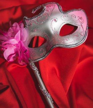 Маска La Mascarade 101850 Венецианская Розово-серебристая