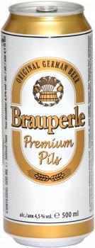 Упаковка пива Brauperle Premium Pils светлое фильтрованное 4.5% 0.5 л x 24 шт (4012014042651)