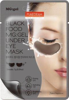 Маска питательная с черным комплексом под глаза Purederm Black Food MG:Under Eye Mask на тканевой основе с гелевой пропиткой Патчи 14 г (8809411189647)